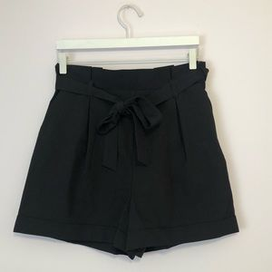 Black high tie waist shorts